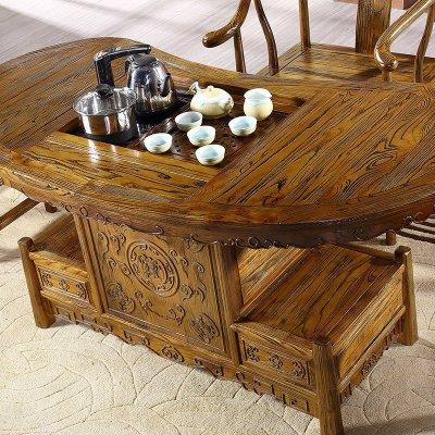 忆斧至家 仿古茶台 茶桌椅组合 实木茶几榆木 中式古典 椭圆形1.