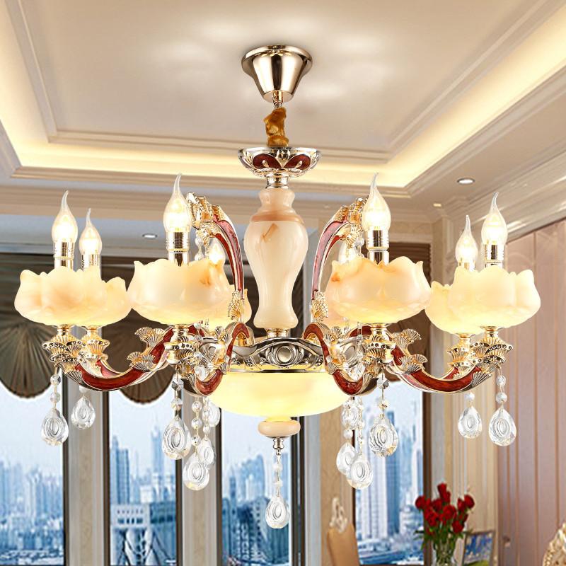 简欧锌合金玉石水晶吊灯欧式客厅灯简约卧室餐厅别墅蜡烛灯具