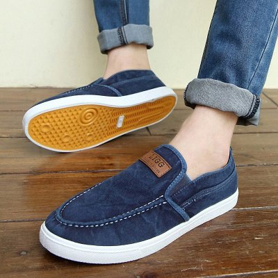 夏季一腳蹬懶人鞋透氣帆布鞋青年老北京布鞋男士單鞋休閑鞋子板鞋