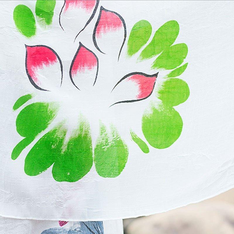 薇信姿 中国风手绘淡色超大围巾披肩汉服周边批帛