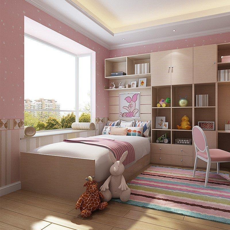 sogal索菲亚 衣柜 现代简约风格书柜书桌飘窗床头柜组合粉色公主房 全