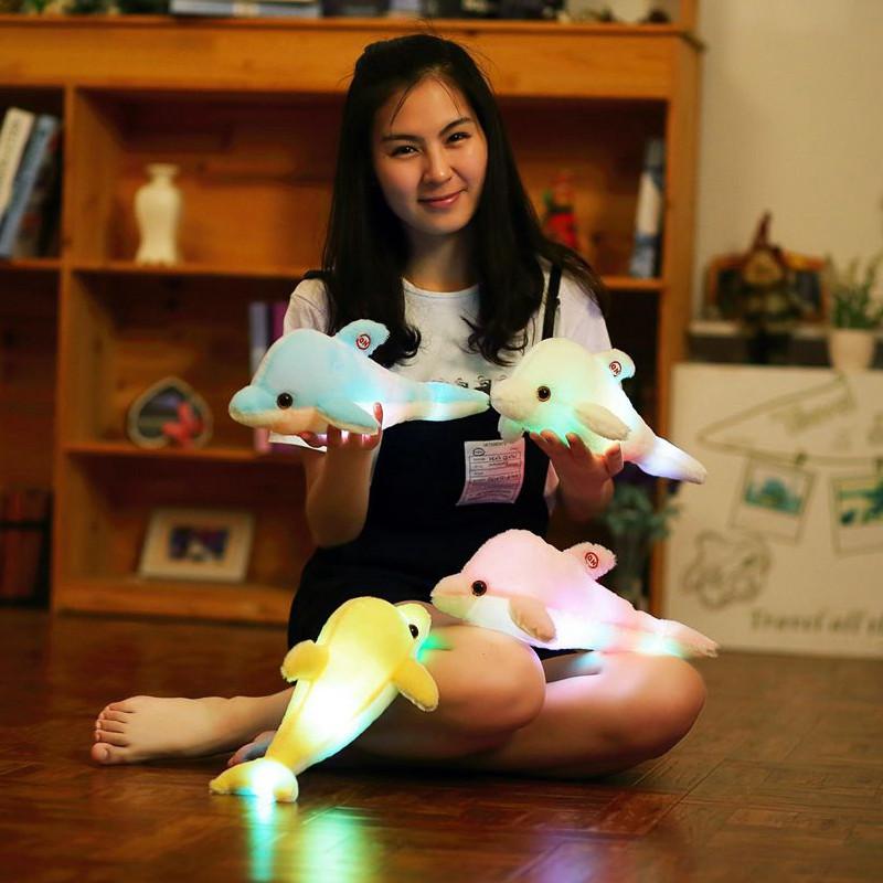 朵啦啦 开关款发光小海豚 毛绒玩具大号布娃娃玩偶公仔 生日礼物 女生