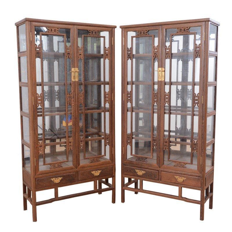 红木家具 鸡翅木客厅中式实木玻璃展示柜 原木陈列柜 玄关酒柜 jcm608