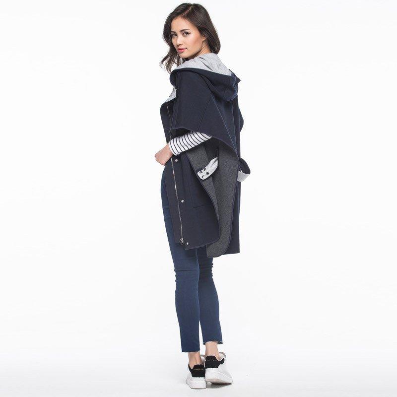 艾格e&joy2016春装纯色连帽蝙蝠袖棉针织衫女160827002