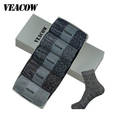 VEACOW 【5双装】 男士个性民族风棉袜 复古粗线条时尚中筒袜