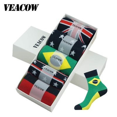 VEACOW 【5雙裝】禮盒裝球迷襪 新款全面國旗男士中筒棉襪男襪運動襪