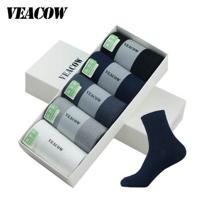 VEACOW 【5双礼盒装】男士竹纤维袜子 运动防臭中筒袜 吸湿排汗休闲