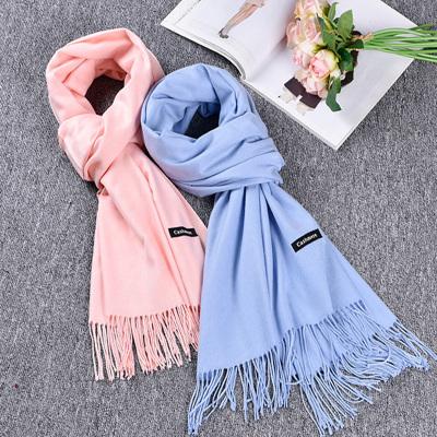 VEACOW韩版 流苏仿羊绒围巾长款女士加厚保暖纯色百搭披肩