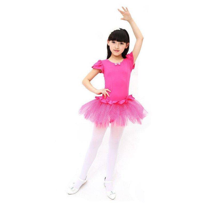 短袖形体服考级服练功服儿童芭蕾舞蹈服 女童拉丁舞蹈纱裙幼儿夏