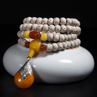 居典 天然原色星月菩提手串108顆 手鏈項鏈 木飾女士佛珠