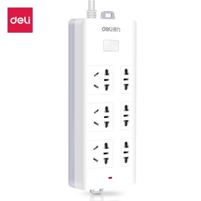 包郵得力deli18256安全插座3米帶線電插板6孔接線板排插拖線板電源插線板