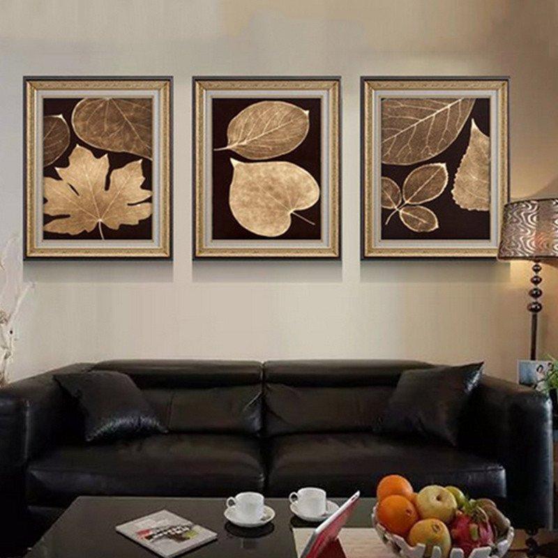 檸檬樹高檔美式沙發背景墻畫歐式客廳裝飾畫油畫三聯組合壁畫掛畫