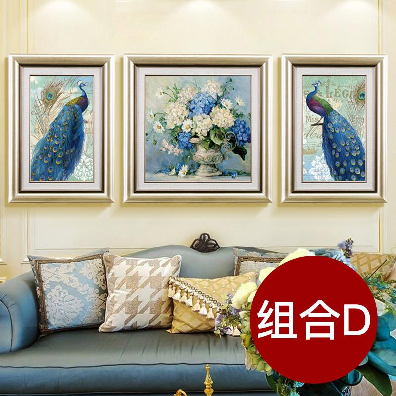 美式现代客厅装饰画欧式沙发背景墙三联画餐厅玄关有框画逐鹿生财