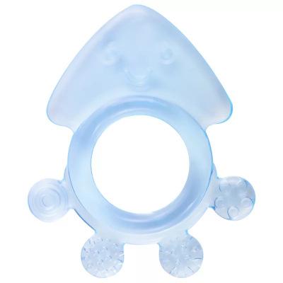 盟寶磨牙棒嬰兒軟牙膠純硅膠咬咬膠3-12個月玩具天然無毒 章魚蘭色