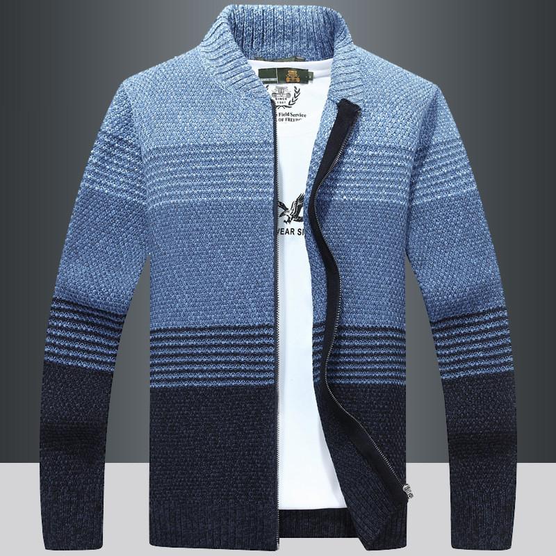 2018秋冬加绒针织外套男士毛衣休闲时尚针织衫拉链开衫上衣外套厚
