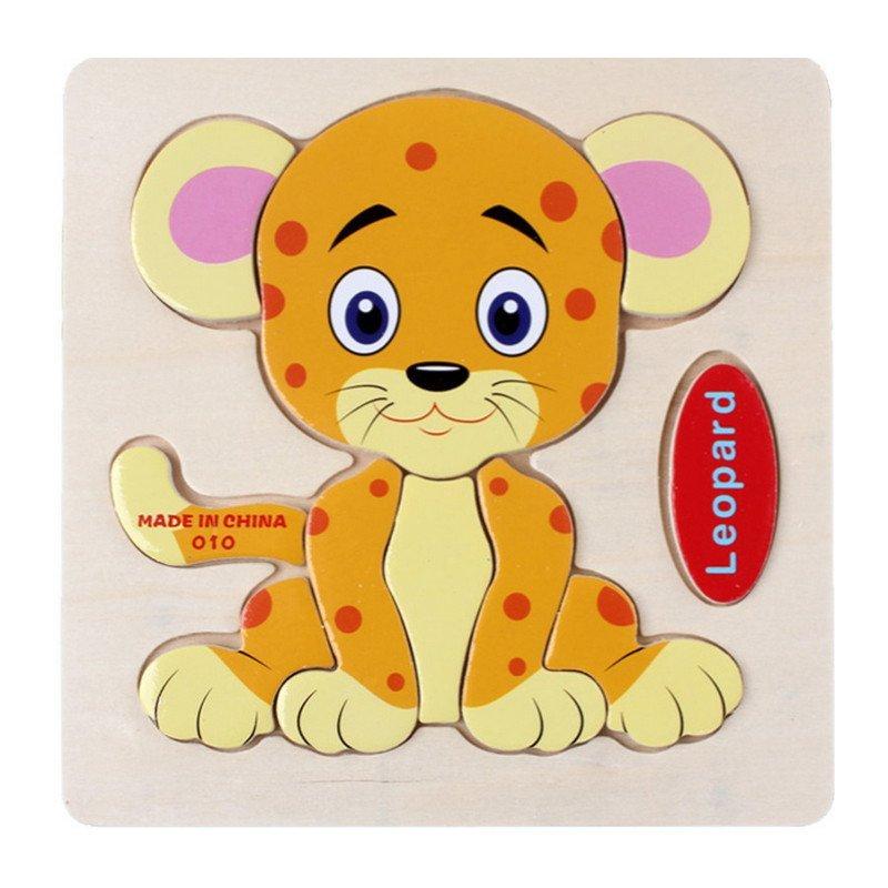 木制3d立体小豹小拼图拼板 2-7岁宝宝木质早教儿童益智玩具 pg98010