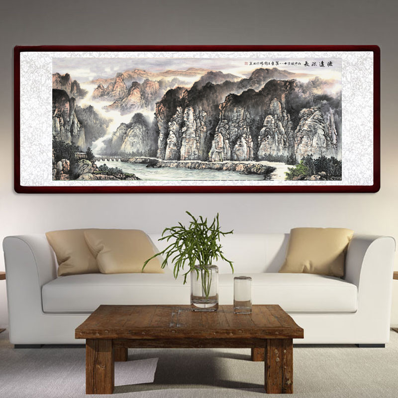 王梓晖现代客厅装饰画新中式挂画书房沙发背景墙办公室壁画山水画图片