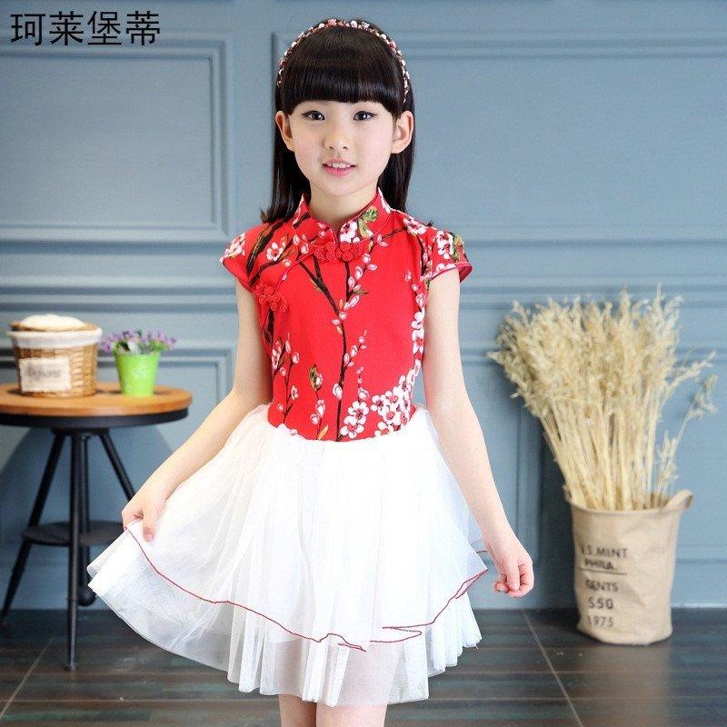 珂莱堡蒂 女童中国风旗袍连衣裙中大童可爱公主修身唐装裙