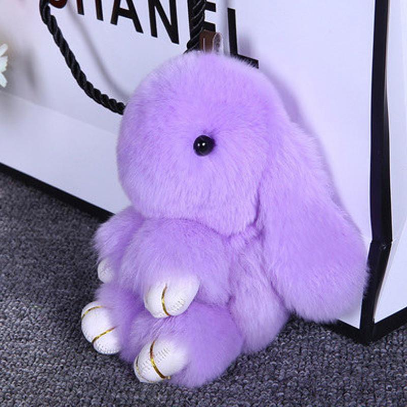 獭兔毛皮草钥匙扣25cm 可爱装死兔萌萌兔汽车包包配饰