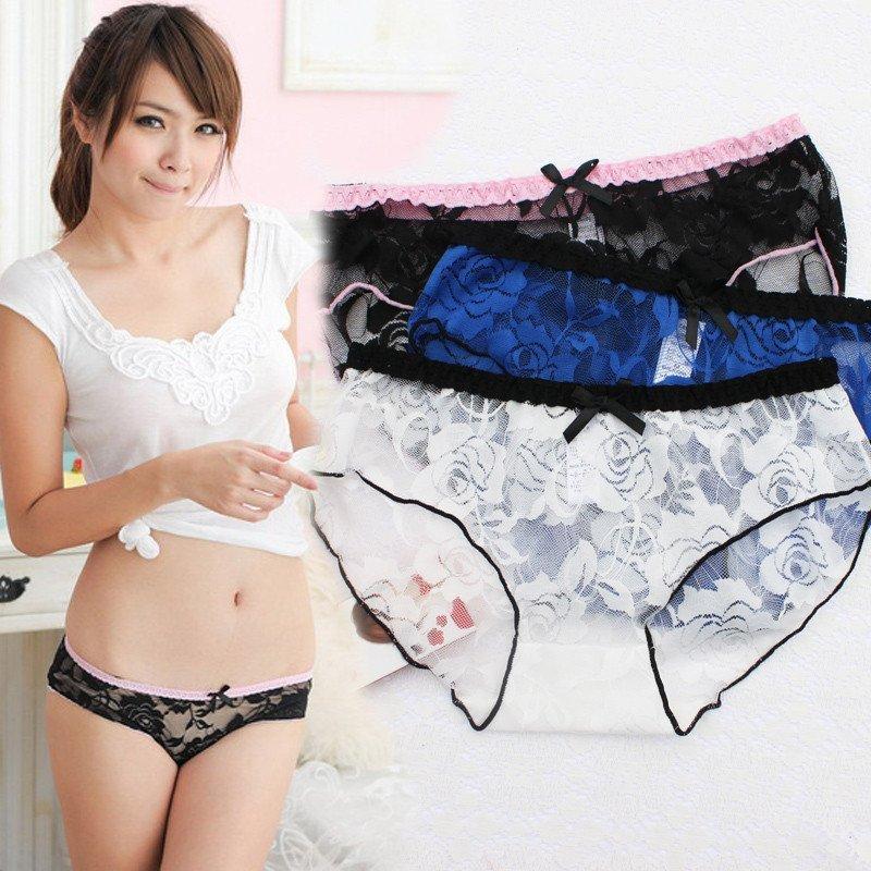 日系网纱蕾丝少女透明蝴蝶结内裤 性感诱惑女生可爱低腰三角裤