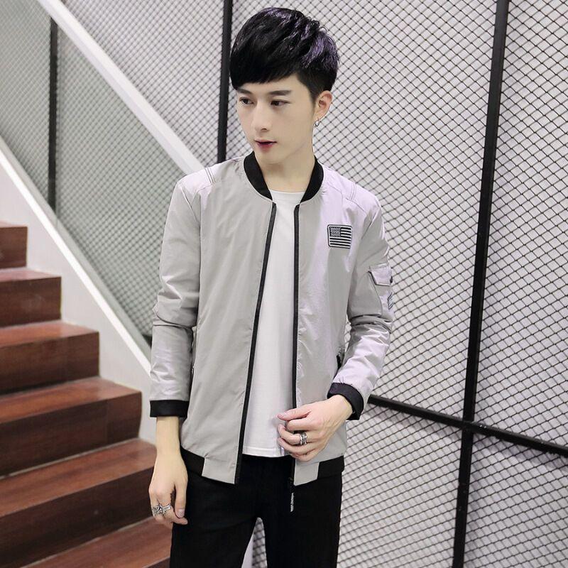 小伙新款男士立领外套日系复古印花连帽夹克衫青少年大码潮流男装上衣