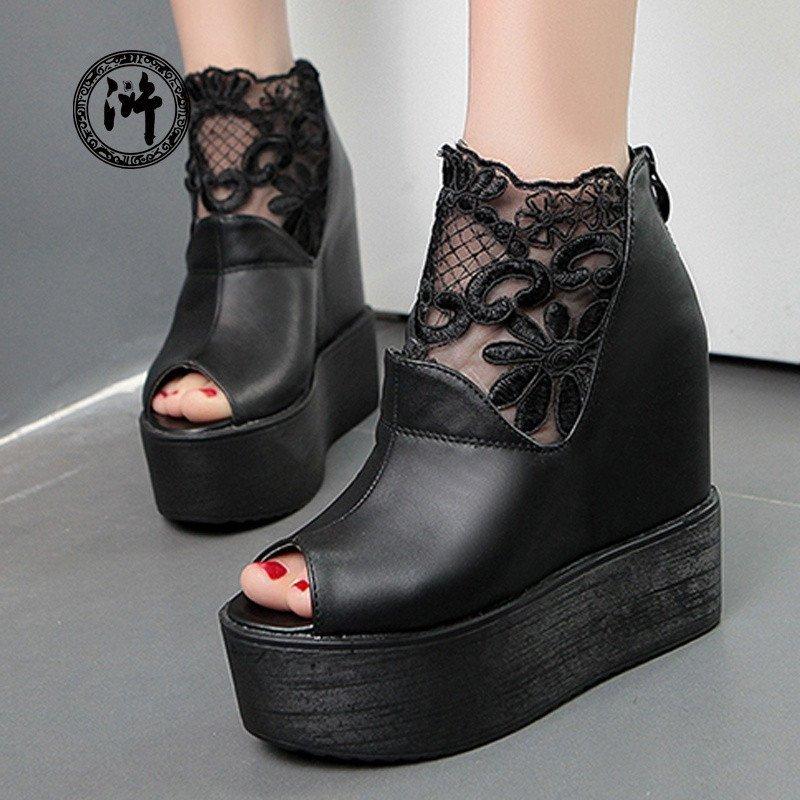 蕾丝松糕厚底女鞋凉鞋