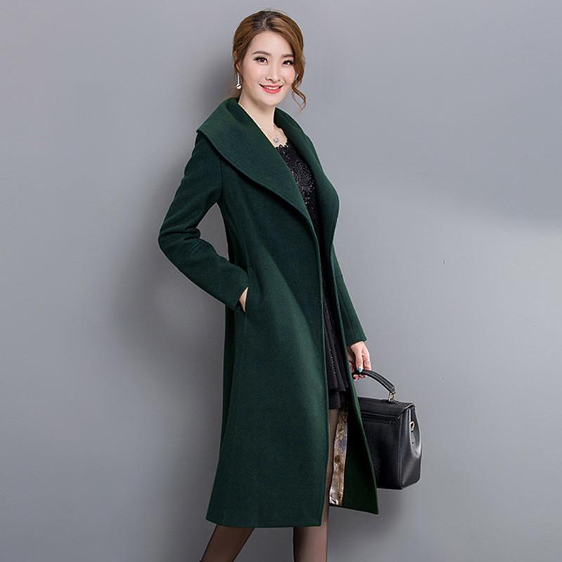 双面羊绒大衣女装2017秋冬新款大翻领长款羊毛毛呢外套图片图片
