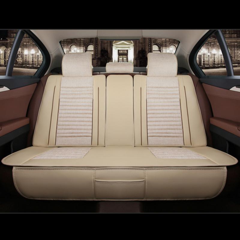 四季通用汽车坐垫 五座通用亚麻座套 适用现代朗动悦动科雪铁龙爱丽舍