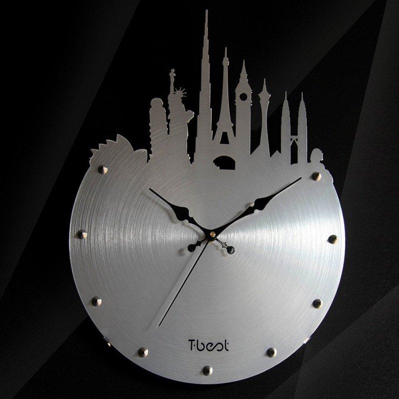 3d金属城市风景时尚客厅餐厅时钟卧室壁钟创意超静音挂钟表欧式艺术