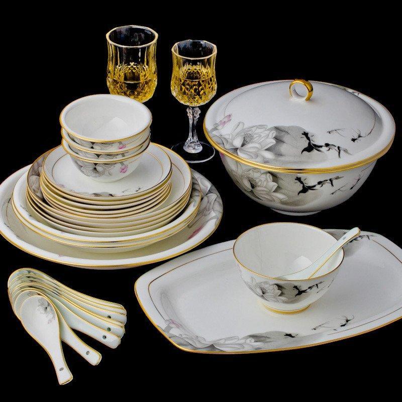 八友 陶瓷餐具套装 景德镇高档骨瓷器 碗盘碗碟套装72图片