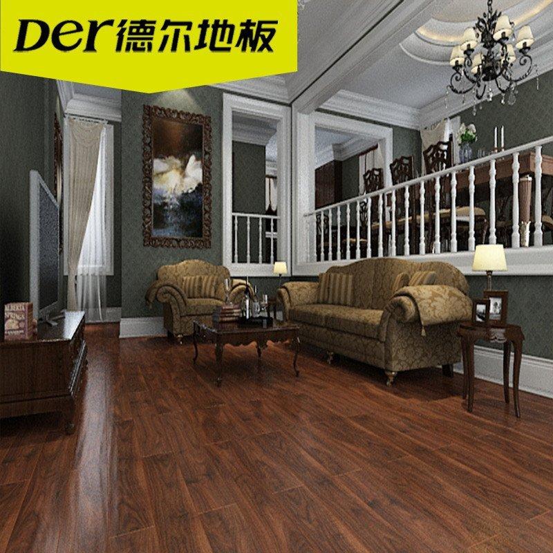 德尔地板无醛芯环保地板强化复合木地板 地暖dn7003佩特拉黑胡桃
