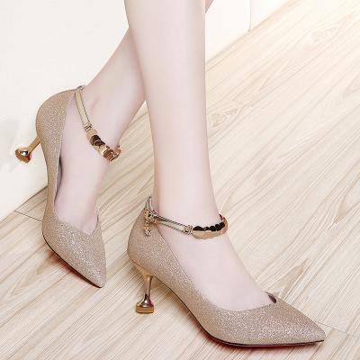 百年纪念 尖头高跟鞋女士细跟单鞋酒杯跟春夏新款韩版时尚猫跟女鞋 1540