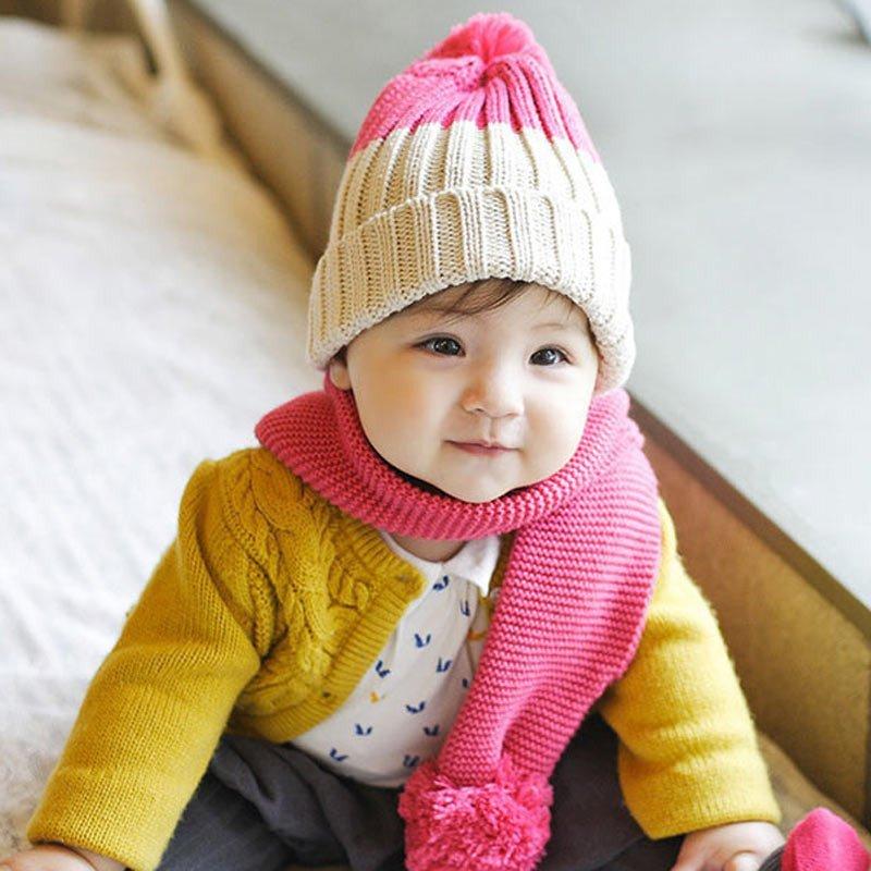儿童围巾宝宝韩版针织新秋冬个性纯色手工围巾婴幼儿保暖毛线围脖