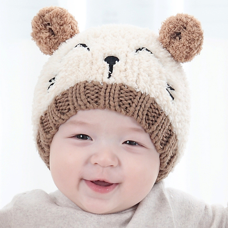 男女宝宝毛绒帽子 婴儿护耳毛线保暖帽韩版 男童女童韩国套头帽
