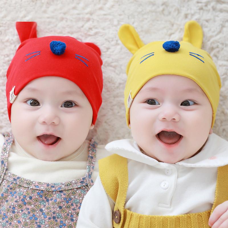 婴儿帽子0-3-8个月新生儿帽子宝宝帽子小孩男女童帽胎帽初生儿拍照套