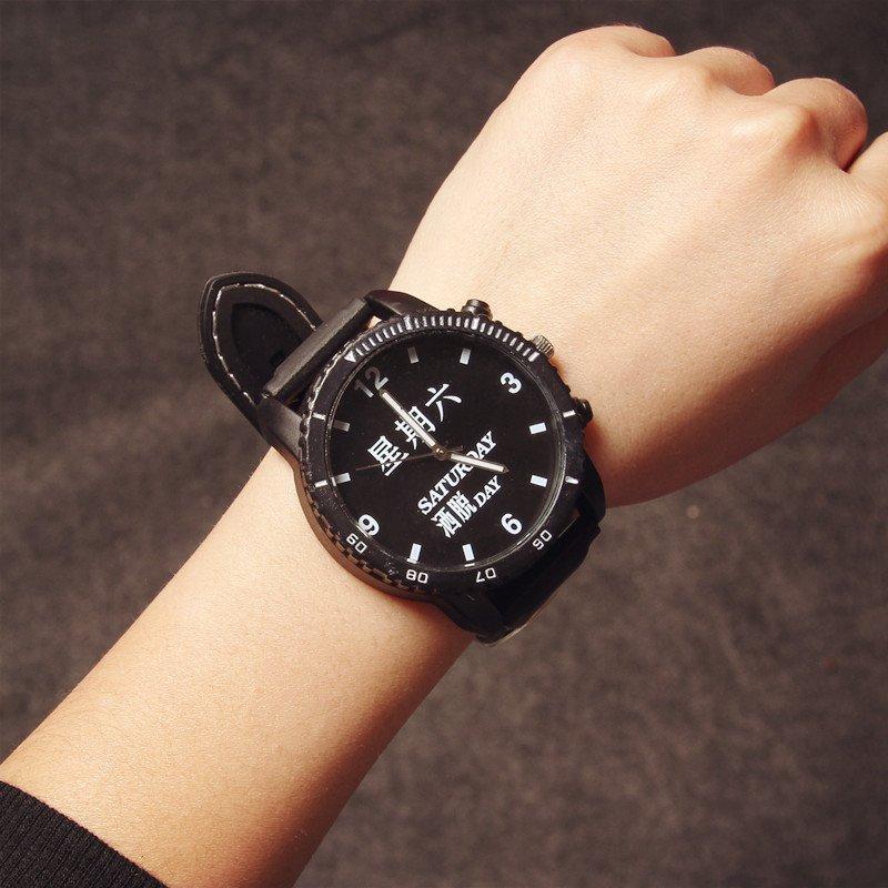 c2潮朝 韩国原宿恶搞星期黑白简约复古大表盘手表中学生韩版新款情侣