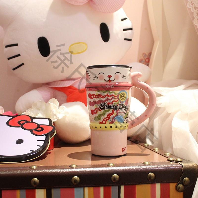 可爱动物马克杯 带盖带勺陶瓷咖啡杯 创意情侣杯子