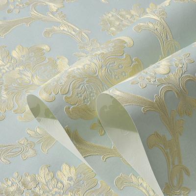 歐式無紡布壁紙3D立體浮雕大馬士革臥室客廳電視背景墻紙自粘壁紙