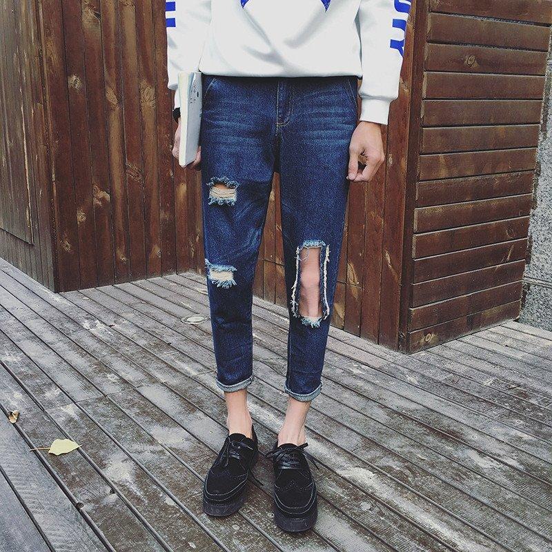 kc 新款膝盖大破洞猫须设计牛仔九分裤 韩版小脚牛仔裤