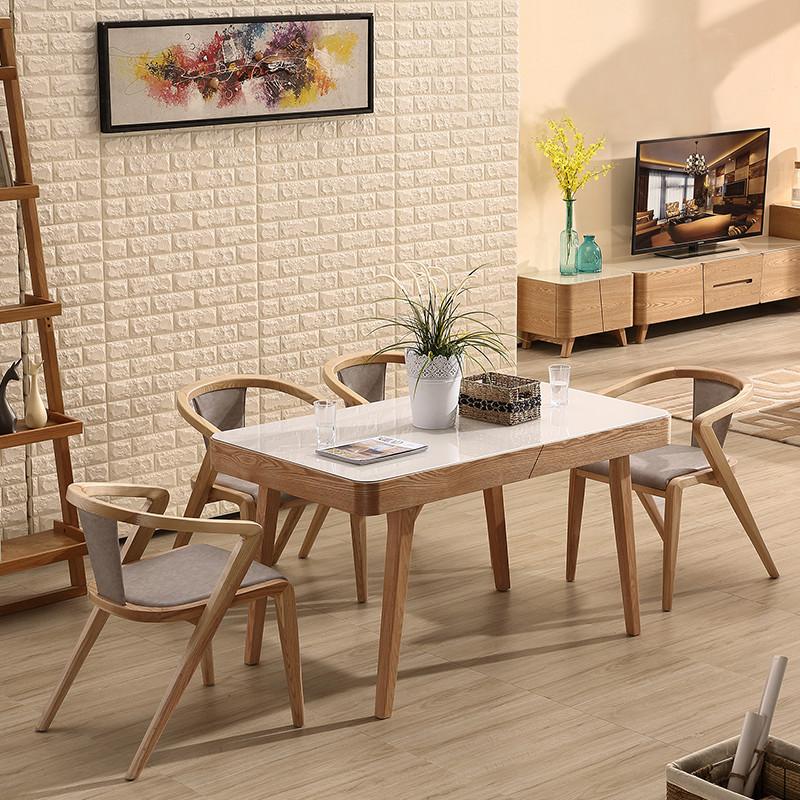 紫茉莉北欧式实木餐桌 水曲柳餐桌椅组合 大小户型全实木 钢化玻璃图片