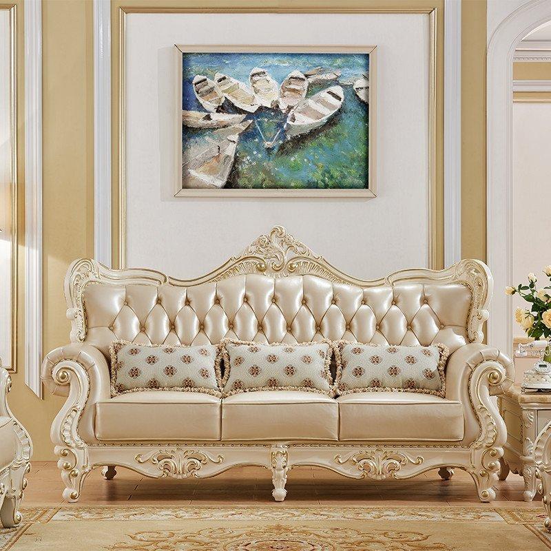 永旭家具 欧式真皮沙发组合客厅 进口实木雕花牛皮沙发7918