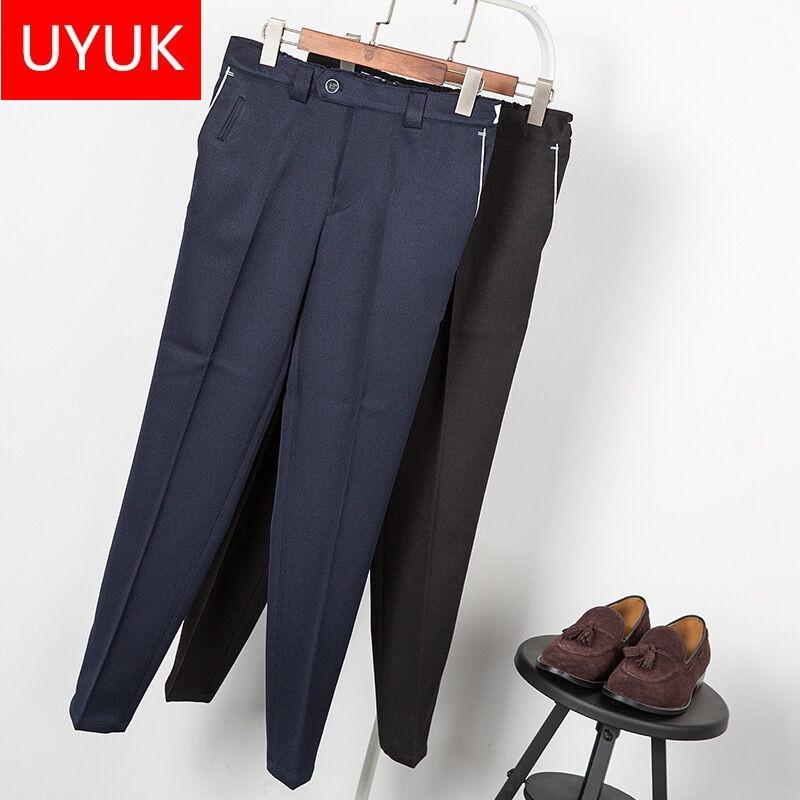 uyuk2017春夏季男装发型师时尚男士韩版修身英伦风质感九分西裤松紧