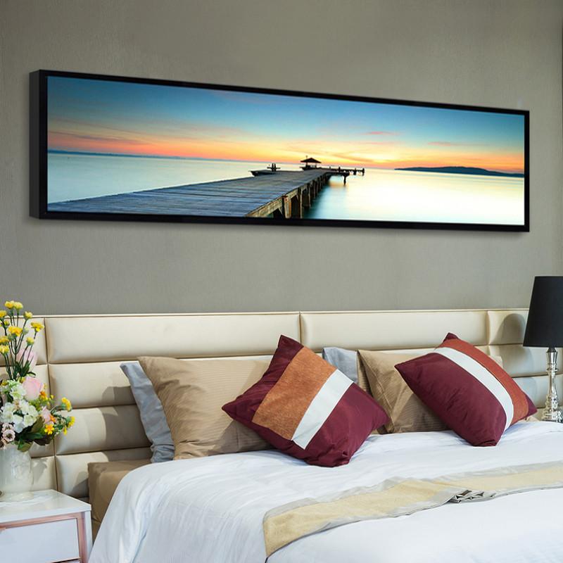 床头装饰画 卧室壁画客厅沙发背景墙现代简约有框横幅