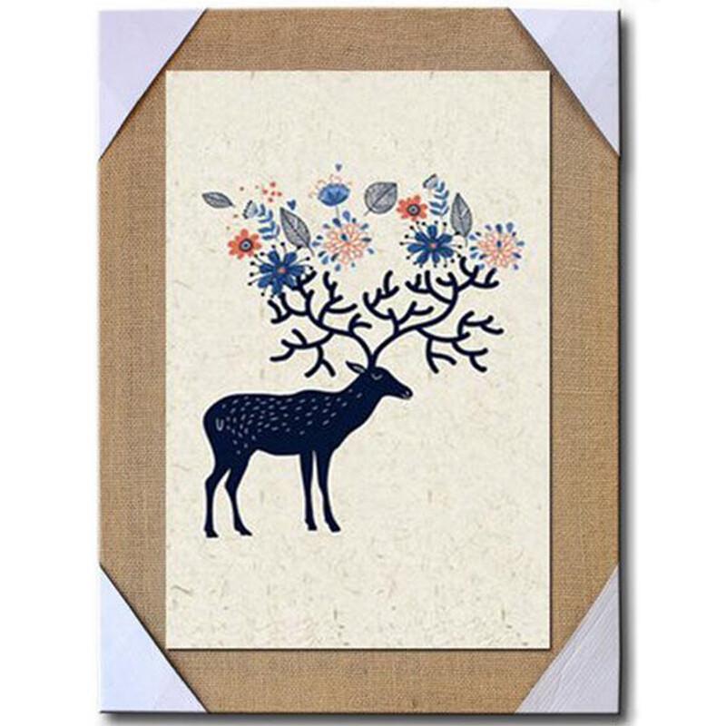 沐坤 北欧装饰画客厅沙发背景墙画无框画手绘油画麻布画麋鹿
