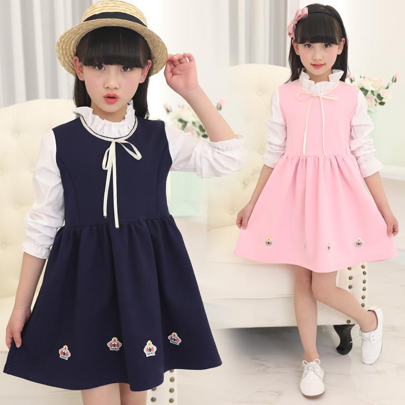 2018春季女童假两件长袖公主裙童装女孩韩版连衣裙5-13岁女儿童裙