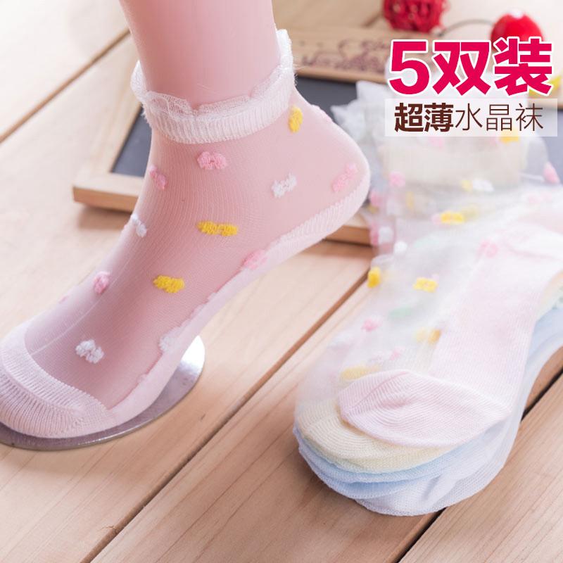 水晶女童袜子花边超薄款透气短袜公主宝宝透明丝袜