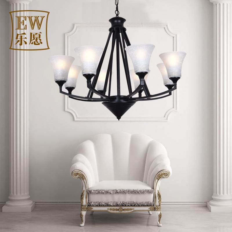 乐愿 美式乡村吊灯 创意复古客厅灯 北欧铁艺简约个性图片