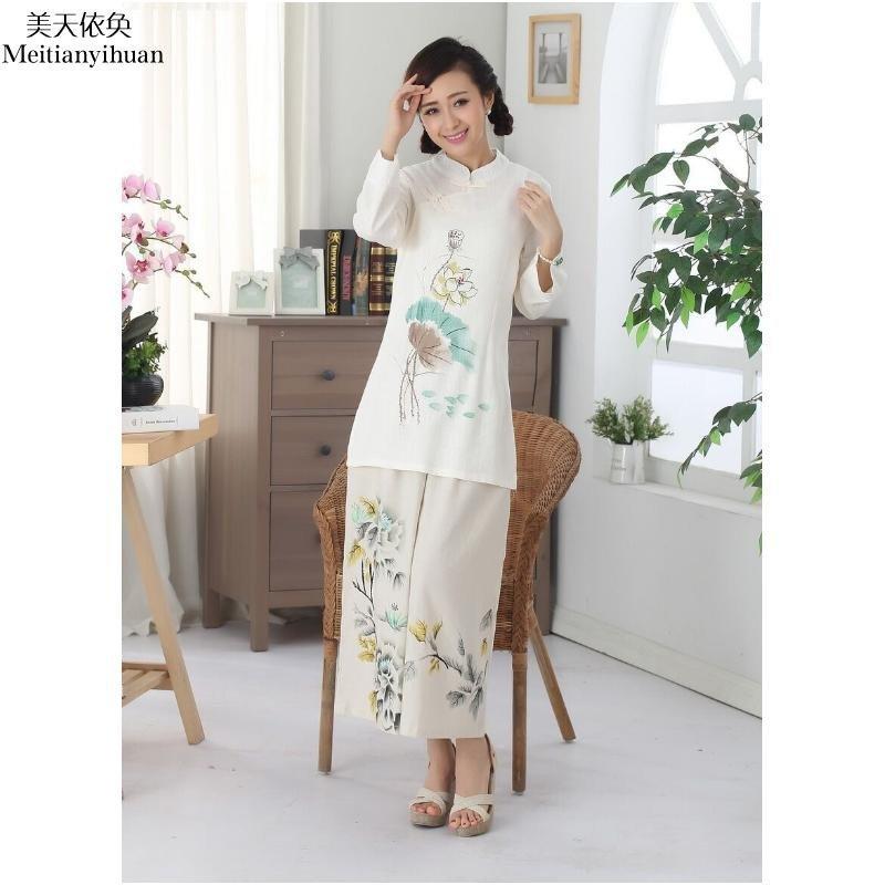 欧诗琳娅 唐装改良长袖手绘 上衣 棉麻亚麻中式民族风