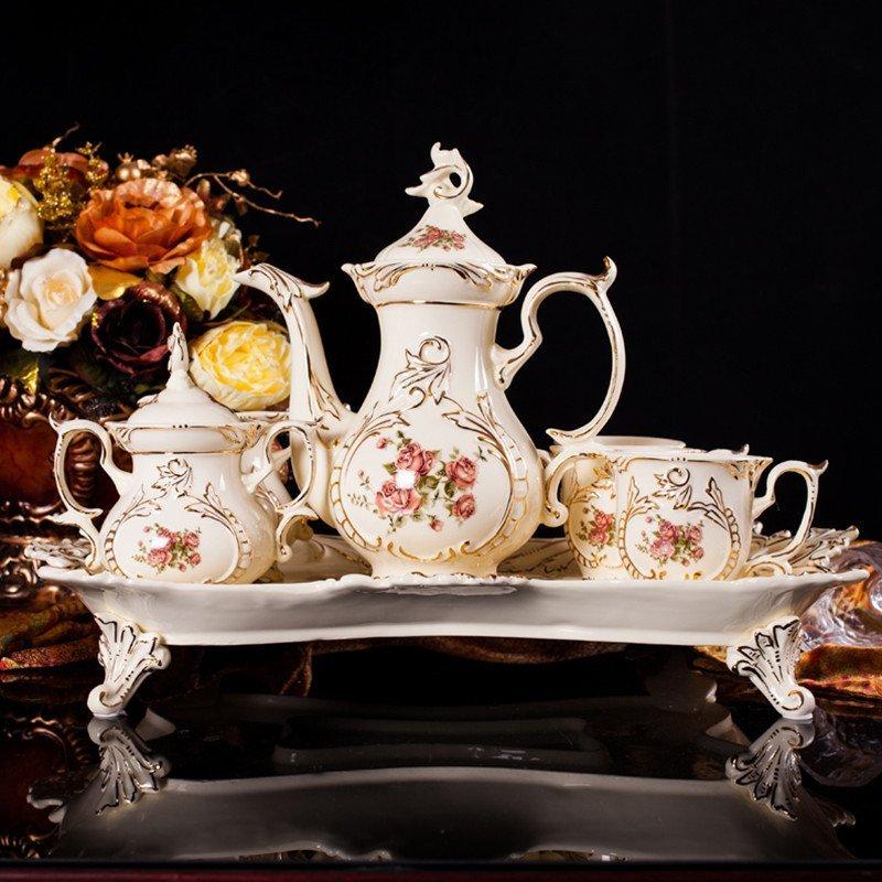 彩帮 咖啡杯欧式茶具套装 英式下午茶骨瓷套装 陶瓷咖啡具套装雕刻图片