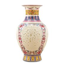 景德镇陶瓷器 高档粉彩福字象牙薄胎镂空花瓶 古典家居饰品摆件图片